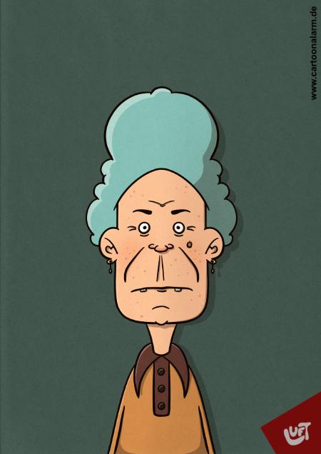 Lustige Karikatur von Thomas Luft einer alten Frau, gezeichnet von Thomas Luft