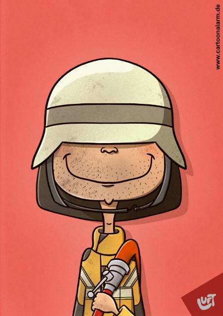 Lustige Karikatur eines Feuerwehrmannes, gezeichnet von Thomas Luft.