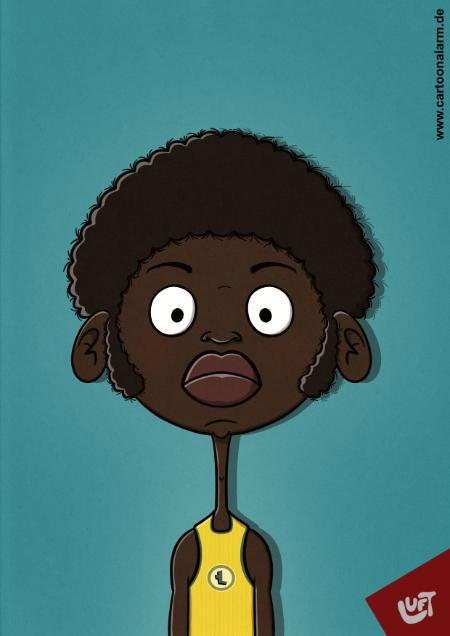 Lustige Karikatur eines afroamerikanischen Basketballspielers, gezeichnet von Thomas Luft (cartoonalarm.de).