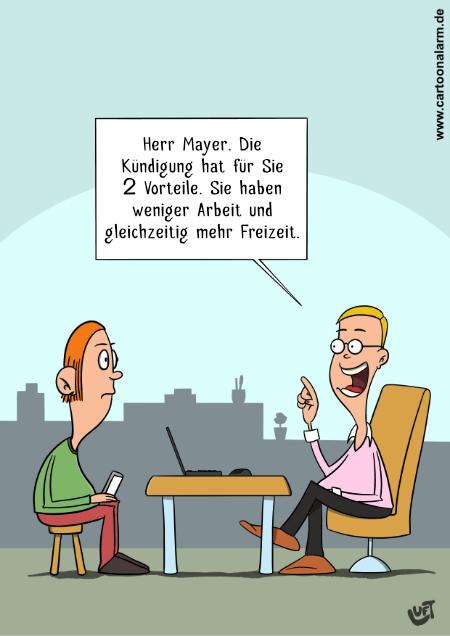 Cartoon von Thomas Luft zum Thema Kündigung.