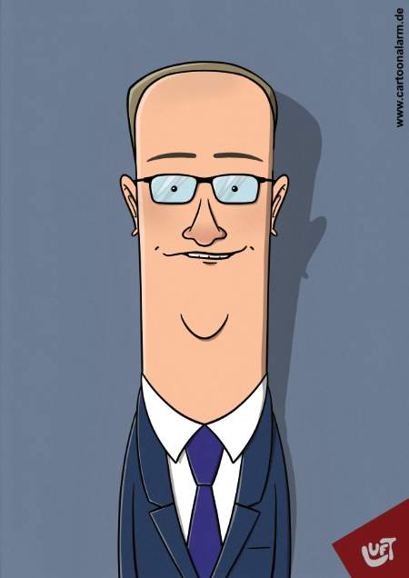 Lustige Karikatur des Moderators Oliver Welke, gezeichnet von Thomas Luft.
