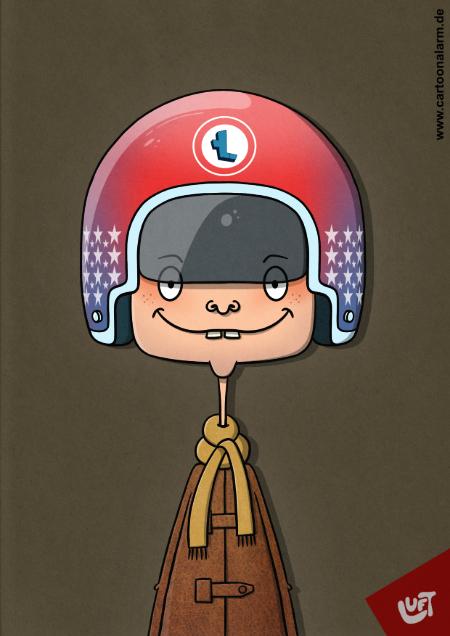 Lustige Karikatur eines Rollerfahrers mit Helm, gezeichnet von Thomas Luft.