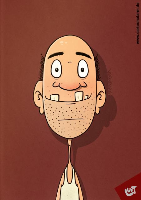 Lustige Karikatur Mannes mit Halbglatze und großen Zähnen (Bodo B.), gezeichnet von Thomas Luft.