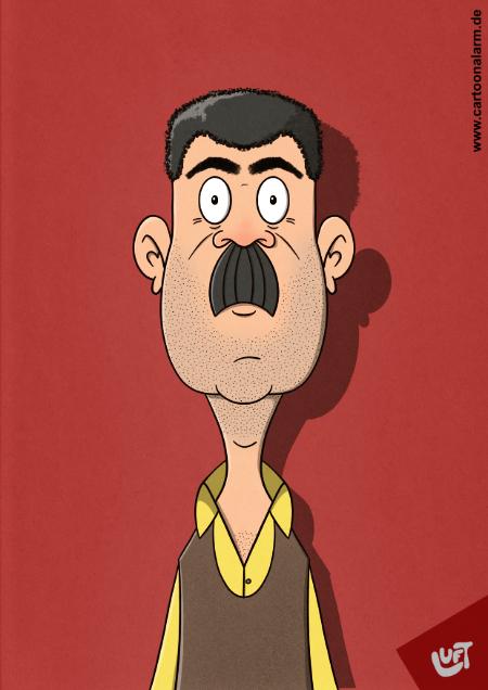 Lustige Karikatur eines Mannes (Bülent A.) mit Oberlippenbart, gezeichnet von Thomas Luft.