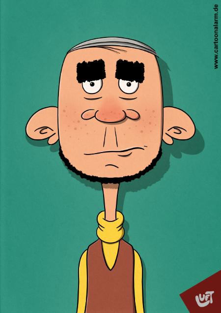Lustige Karikatur eins Mannes (Konrad Z.) mit Kinnbart und dicken Augenbrauen, gezeichnet von Thomas Luft.