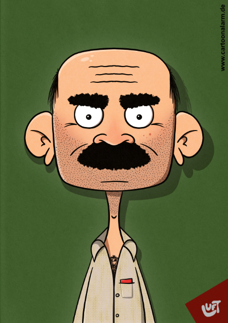 Lustige Karikatur eins türkischen Mannes (Ahmet G.) mit Oberlippenbart, gezeichnet von Thomas Luft.