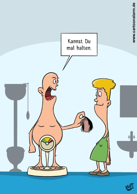 Cartoon von Thomas Luft zum Thema Gewicht