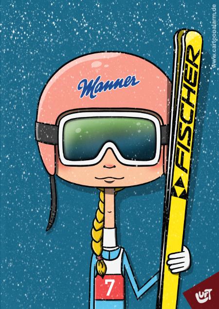 Lustige Karikatur einer Skispringerin (Annemarie H.), gezeichnet von Thomas Luft.