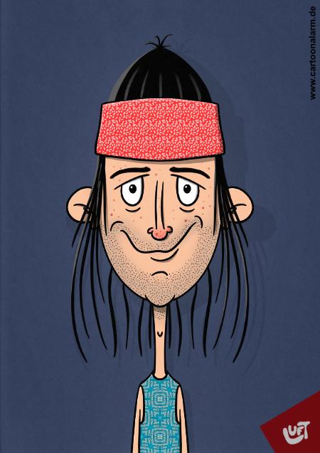 Lustige Karikatur eines Mannes (Konrad Z.) mit langen Haaren und Stirnband, gezeichnet von Thomas Luft.