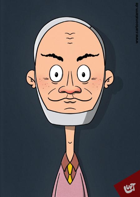 Lustige Karikatur einen älteren Mannes (Manfred B.) mit grauen Haaren und Kinnbart, gezeichnet von Thomas Luft.