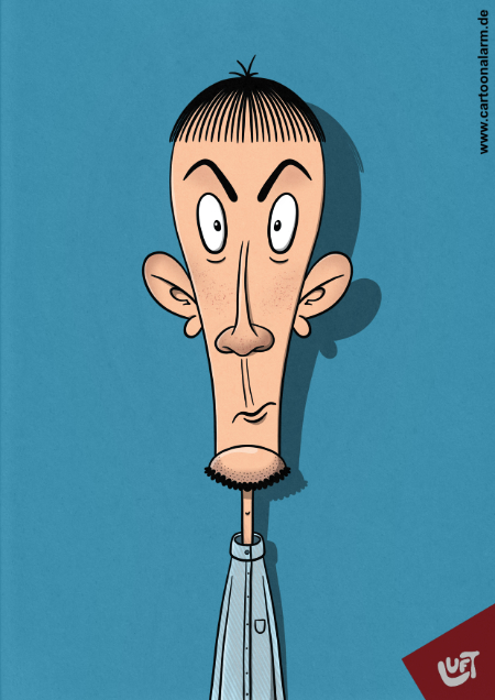 Lustige Karikatur eines jungen Mannes (Jörgen S.) mit Kinnbart, gezeichnet von Thomas Luft.