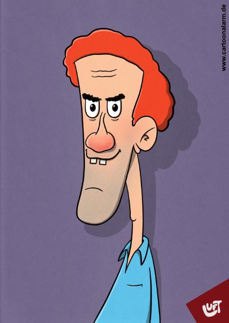 Lustige Karikatur eines Mannes (Linus F.) mit lockigen roten Haaren, gezeichnet von Thomas Luft.