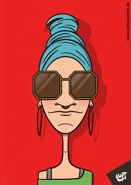 Karikatur einer jungen Frau (Janina O.) mit blauen Haaren und Sonnenbrille, gezeichnet von Thomas Luft.