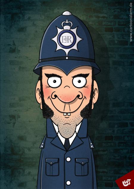 Lustige Karikatur eines englischen Polizisten (Inspector Barley), gezeichnet von Thomas Luft.