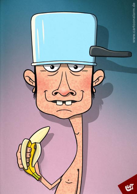 Lustige Karikatur eines Mannes (Harry M.) mit einem Kochtopf auf dem Kopf und einer Banane in der Hand.