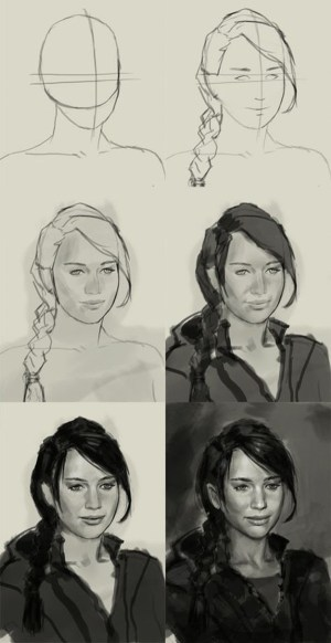 charcoal easy drawing draw techniques drawings sketches face portrait sketching tutorial tips hunger games painting pencil tutorials faces digital illustrators