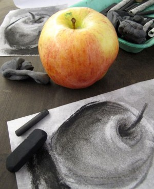 charcoal drawing drawings easy apple still tonal techniques value grade lessons try draw lesson objects class observational tutorial cartoondistrict fun