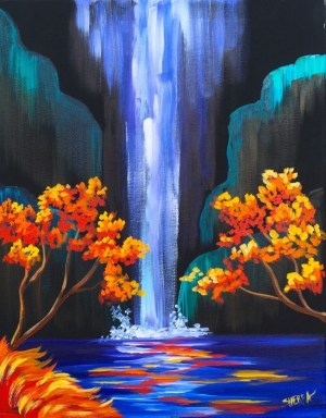 painting acrylic canvas simple beginners easy paintings drawing oil waterfall source
