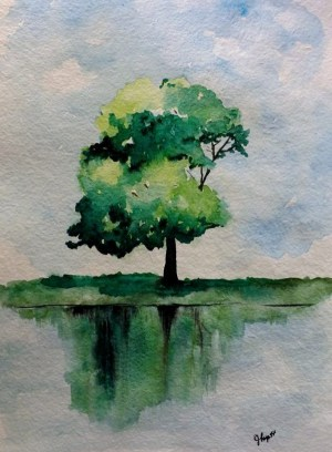 watercolor easy painting landscape tree paintings cartoon background emphasis single
