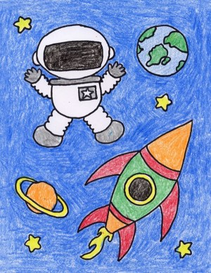 drawing draw creative astronaut topics planets drawings simple projects easy space cartoon child kid artprojectsforkids children project painting cartoondistrict stars