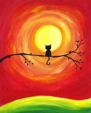 easy painting canvas acrylic paintings sunset simple silhouette cat kitty colors diy pastel blank arts drawing cats complementary oil double
