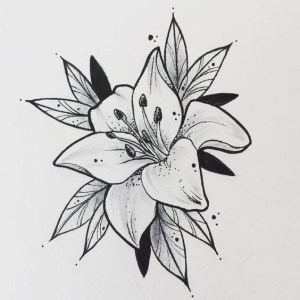 flower drawings simple easy tattoo lys fleur tatouage beginners flowers cartoon tattoos drawing flash designs castillo dario draw district tatoo