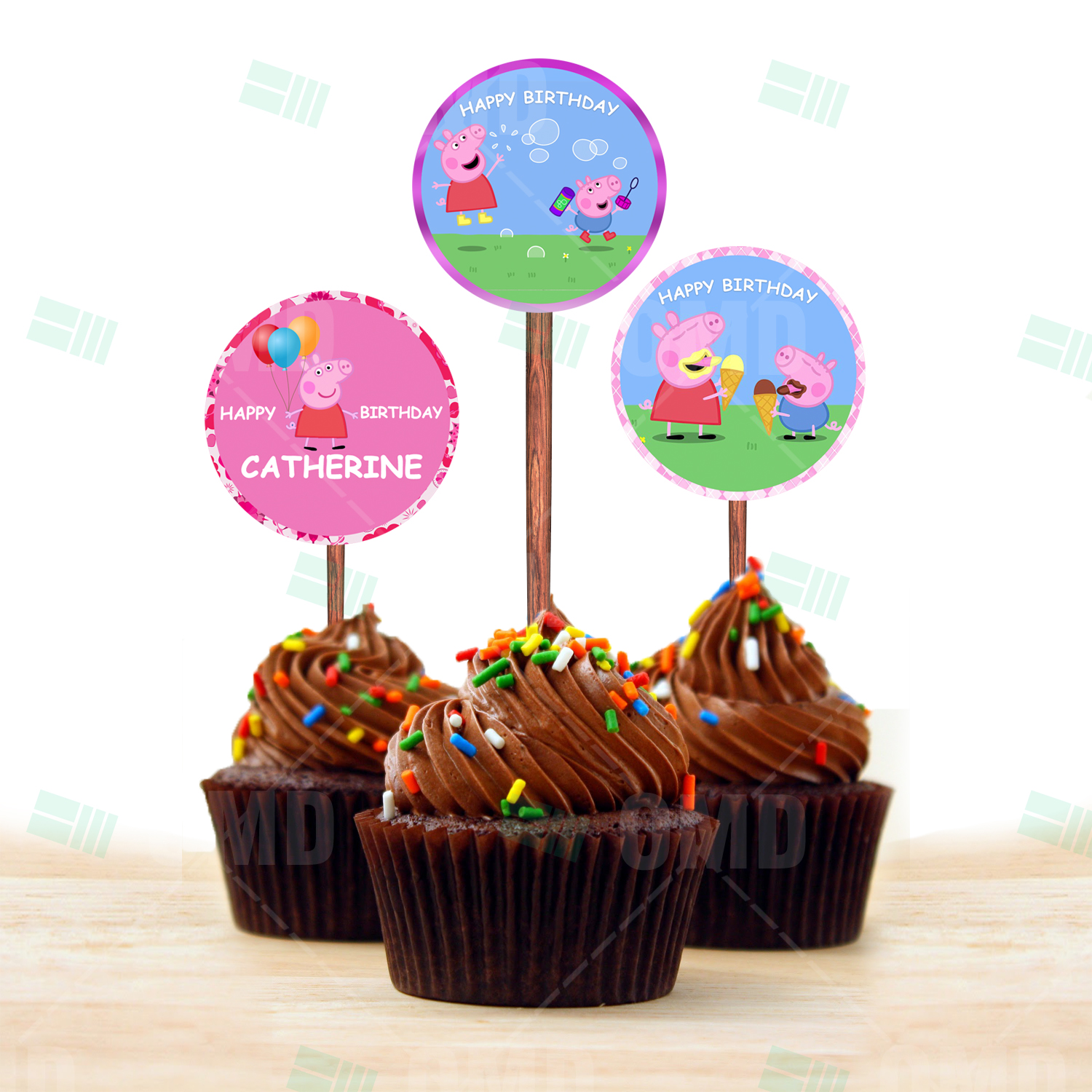 Peppa Pig Cartoon Party Cupcake Toppers