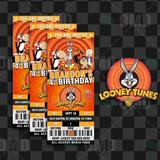 Looney Tunes Ticket Style Birthday