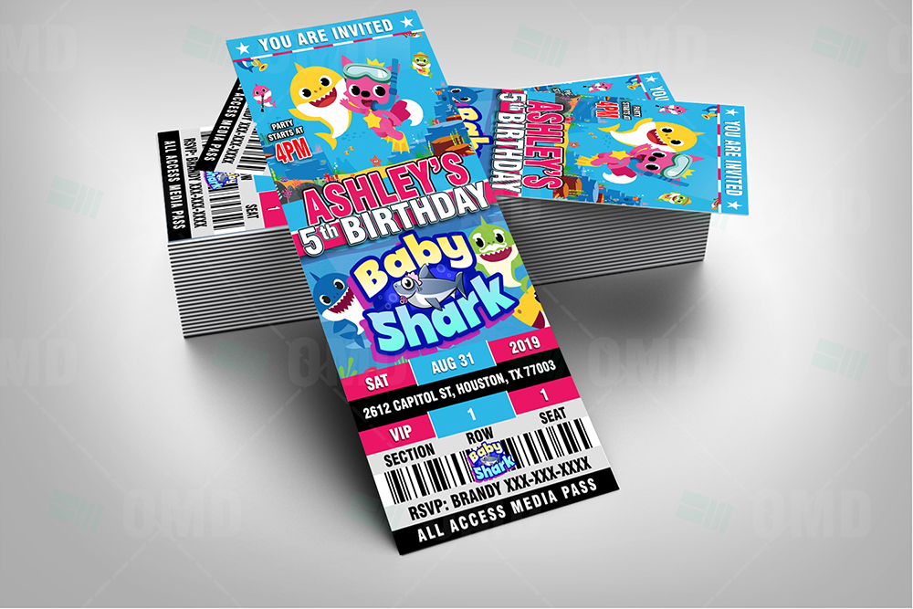 baby shark ticket style birthday