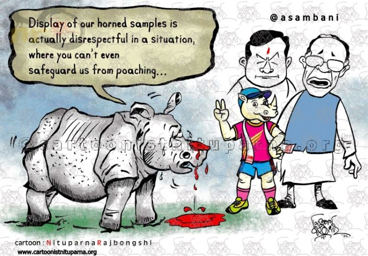 plight of rhino cartoon by Nituparna Rajbongshi x