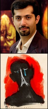 A photo of Hadi Heidari alongside the cartoon he tweeted in response to a series of terrorist attacks in Paris, showing a silhouette of a person's face with the Eiffel Tower taking the place of the face's nose and mouth, and tears from the face's closed eyes.