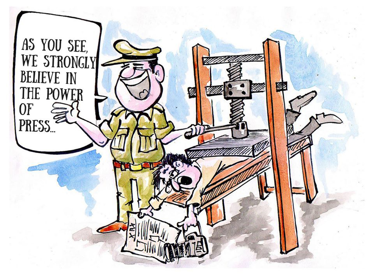 indian police post cartoons maligning journalists u0027 cartoonists