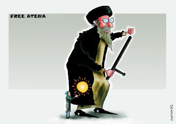 A cartoon by Fadi Abou Hassan, showing an angry Iranian official holding a truncheon, flanked by artist Atena Farghadani holdin a pencil that is eminating light