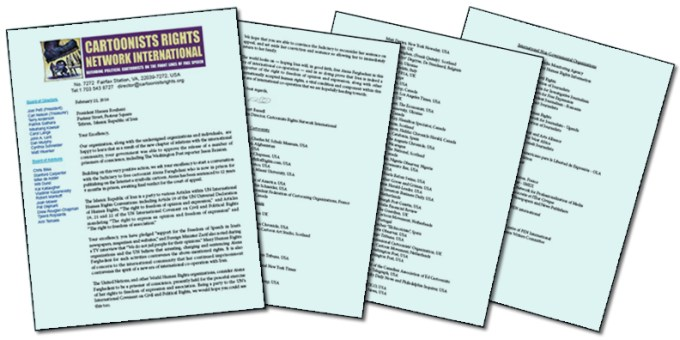 A picture showing the four page letter and petition to Iranian President Hassan Rouhani