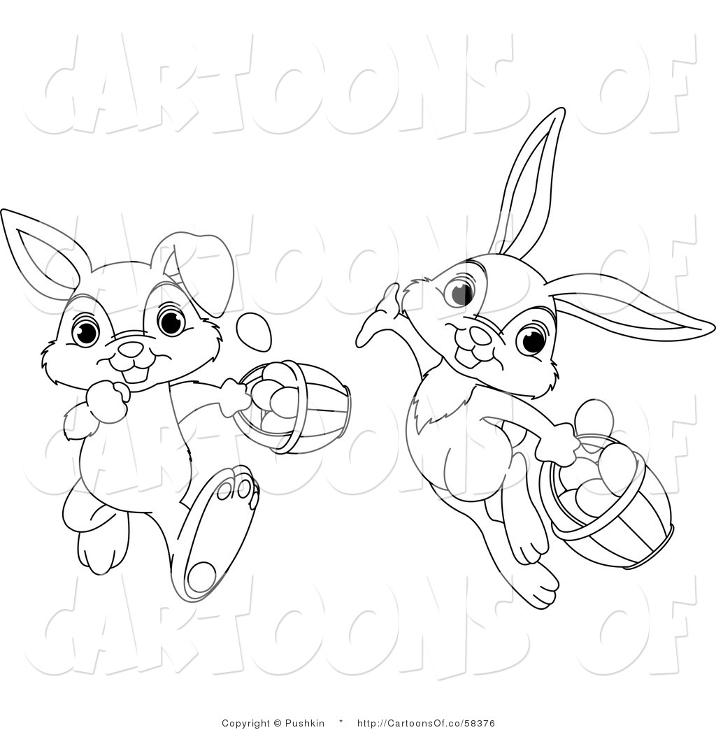 Vector Cartoon Illustration Of Outlined Easter Rabbits