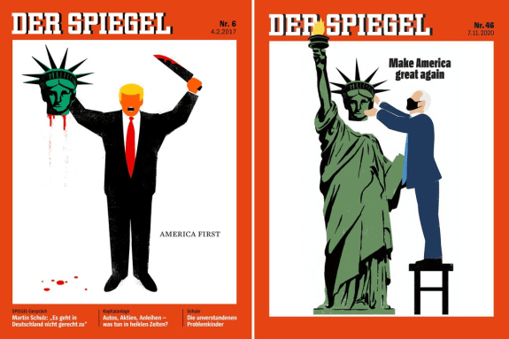 Der Spiegel Magazine Covers from Feb 4, 2017 and Nov 7, 2020