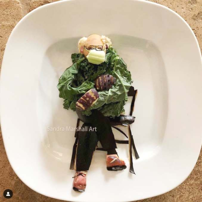Bernie on a Plate by Instagram user @plateartforkids