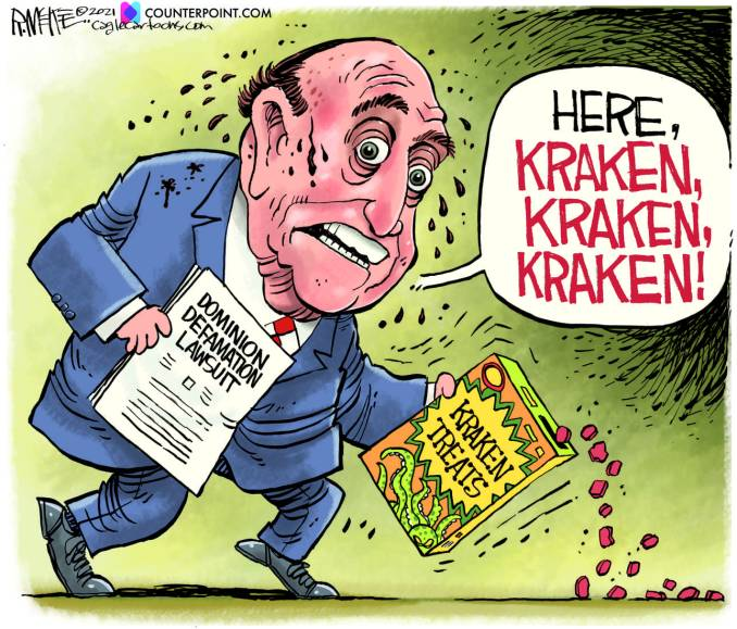 Giuliani Lawsuit by Rick McKee, Counterpoint