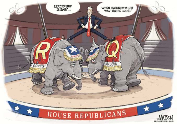 Leader McCarthy Straddles R And Q Republicans by R.J. Matson, Portland, ME