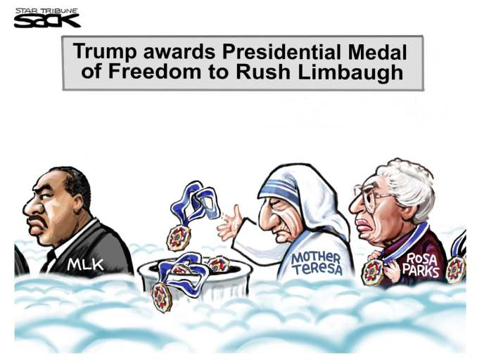 Limbaugh Tarnish by Steve Sack, February 2020 The Minneapolis Star-Tribune, MN