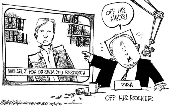 Limbaugh vs Michael J Fox by Mike Keefe, 2006 Cagle Cartoons
