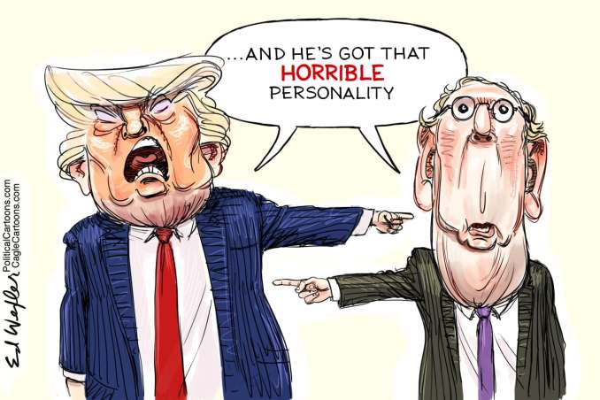 Trump McConnell Horrible Personality by Ed Wexler, CagleCartoons.com
