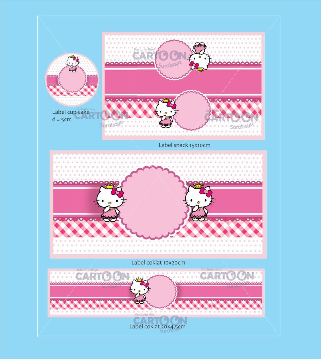 Contoh Desain Label tema Hello Kitty - Cartoon Surabaya