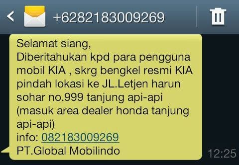 sms Pengumuman KIA Pindah Alamat