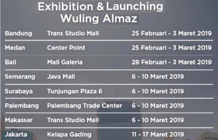 Jadwal dan Tempat Peluncuran Wuling Almaz di Daerah Provinsi