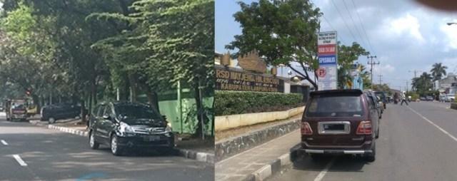 Mobil parkir di badan jalan, kurangi ruang pengguna jalan