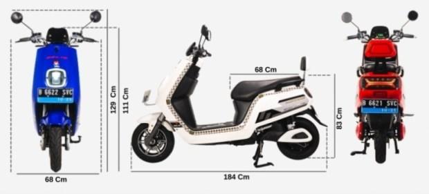 Dimensi Selis E-Max Lithium - Motor Listrik