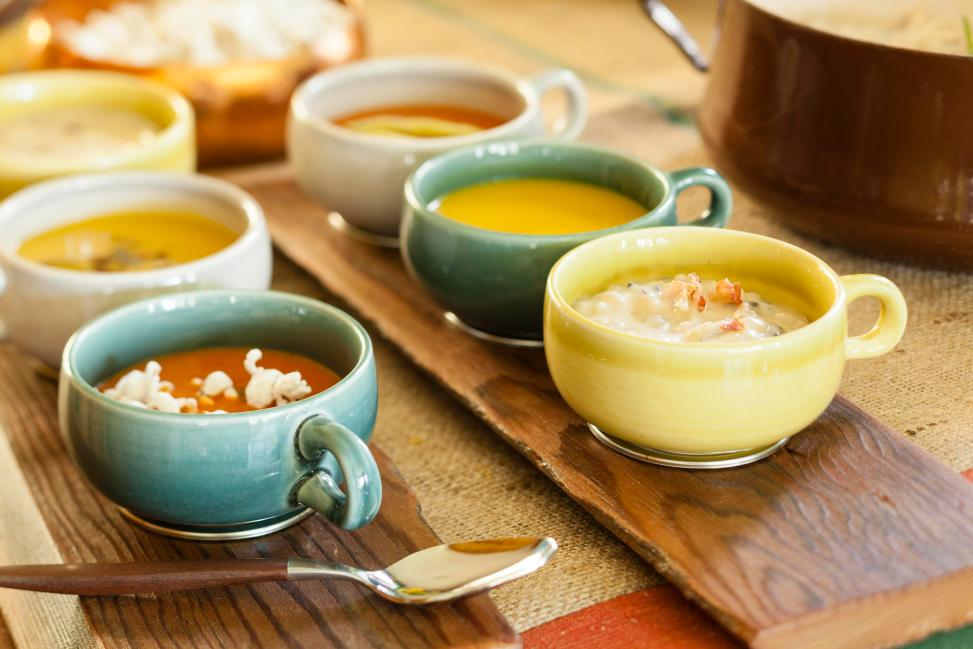 Soup flights for soup buffet