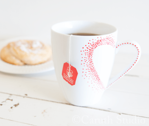 Valentine heart teacup