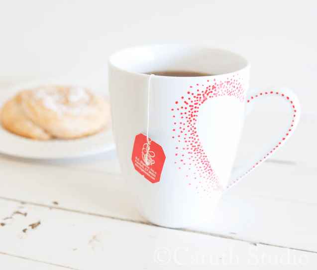 Valentine heart teacup